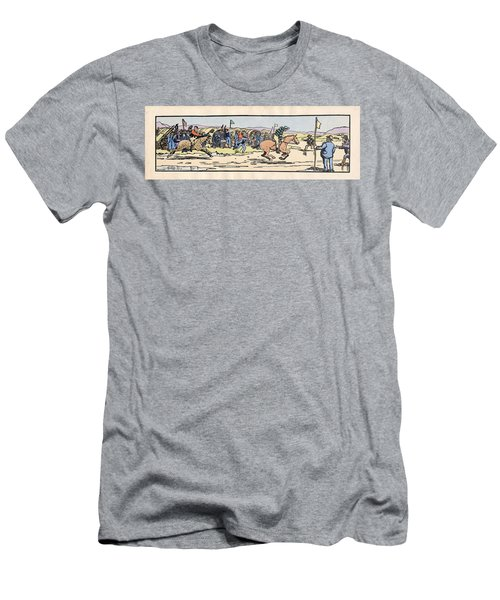 Men's T-Shirt (Athletic Fit) featuring the painting the Finishing post. Omey, by Val Byrne