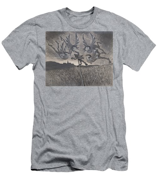 Men's T-Shirt (Athletic Fit) featuring the drawing The Scarecrow And The Four Winds by Ivar Arosenius
