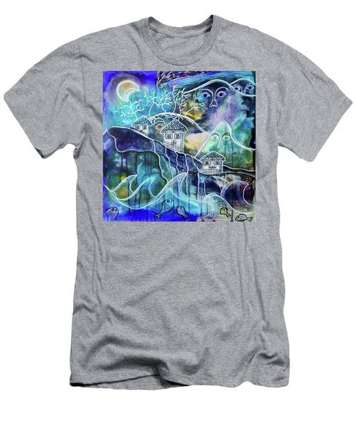 Three Houses On A Cliff Men's T-Shirt (Athletic Fit)