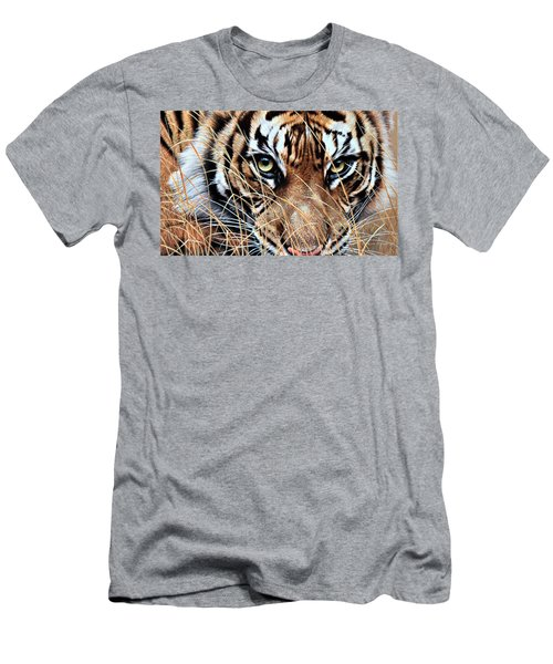 Men's T-Shirt (Athletic Fit) featuring the painting Tiger Eyes By Alan M Hunt by Alan M Hunt