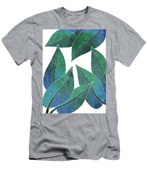 Tropical Leaf Illustration - Blue, Green - Botanical Art - Floral Design - Modern, Minimal Decor Men's T-Shirt (Athletic Fit)