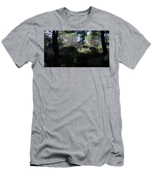 Men's T-Shirt (Athletic Fit) featuring the photograph Two Umbrella Trees by August Timmermans