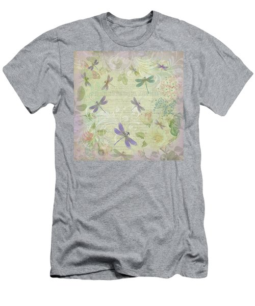 Vintage Botanical Illustrations And Dragonflies Men's T-Shirt (Athletic Fit)
