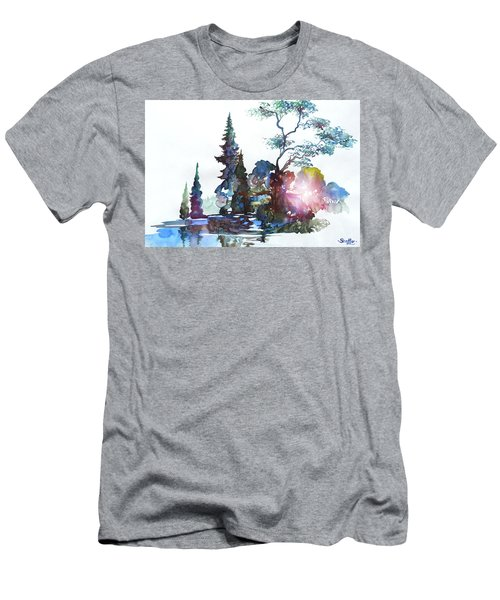 Watercolor Forest And Pond Men's T-Shirt (Athletic Fit)