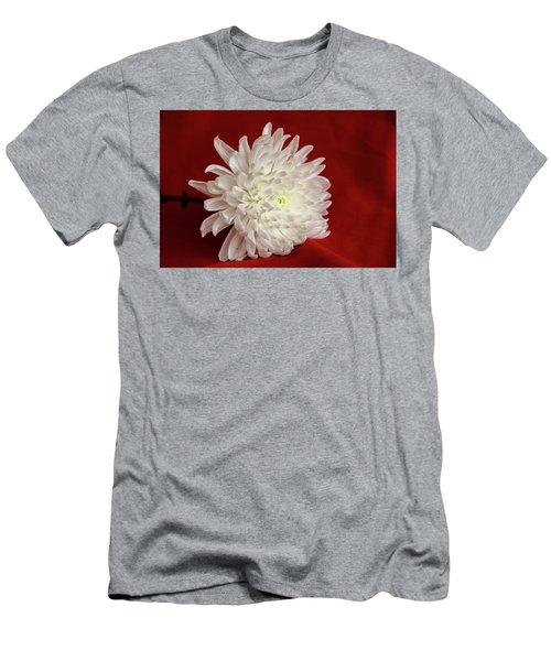 White Flower On Red-1 Men's T-Shirt (Athletic Fit)