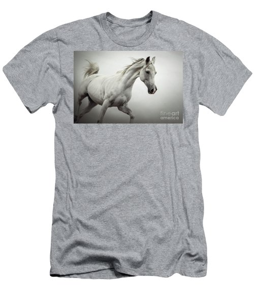 Men's T-Shirt (Athletic Fit) featuring the photograph White Horse On The White Background Equestrian Beauty by Dimitar Hristov