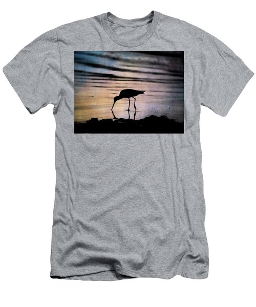 Men's T-Shirt (Athletic Fit) featuring the photograph Willet At Sunset by John Rodrigues