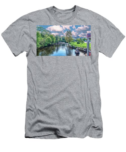 Willimantic River With Clouds Men's T-Shirt (Athletic Fit)