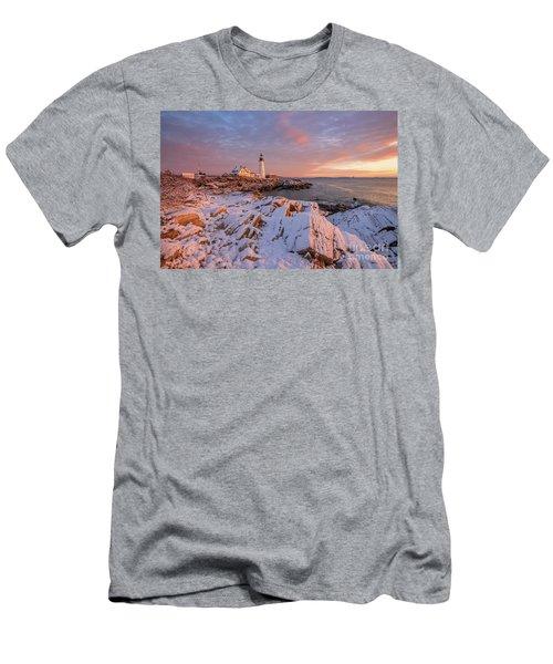 Winter Sunrise At Portland Head Light Men's T-Shirt (Athletic Fit)