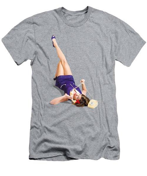 Woman Talking On Antique Landline Phone On Purple Men's T-Shirt (Athletic Fit)