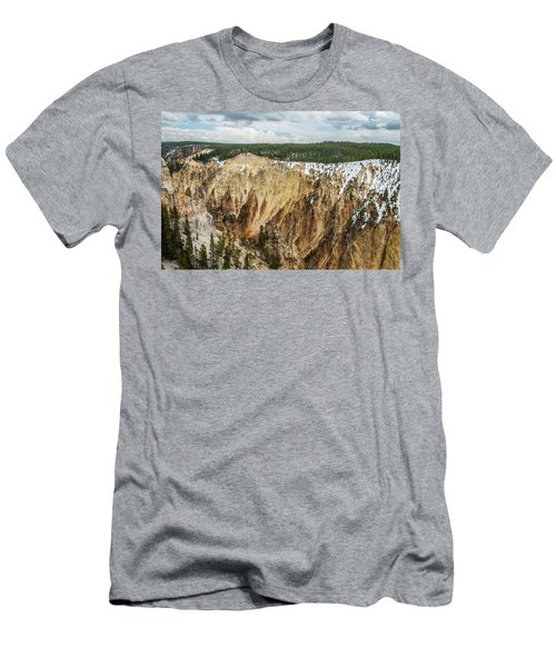 Men's T-Shirt (Athletic Fit) featuring the photograph Yellowstone Canyon With Frosting by Matthew Irvin