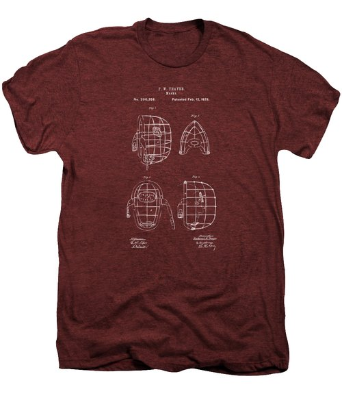 1878 Baseball Catchers Mask Patent - Red Men's Premium T-Shirt by Nikki Marie Smith