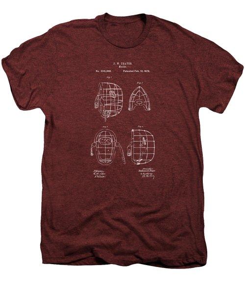1878 Baseball Catchers Mask Patent - Red Men's Premium T-Shirt by Nikki Marie Smith