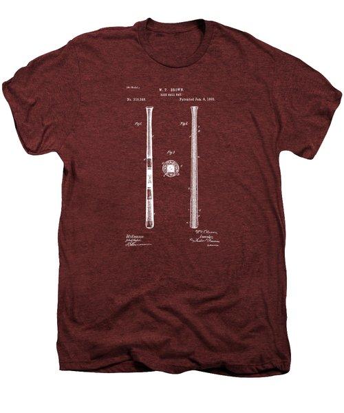 1885 Baseball Bat Patent Artwork - Red Men's Premium T-Shirt by Nikki Marie Smith