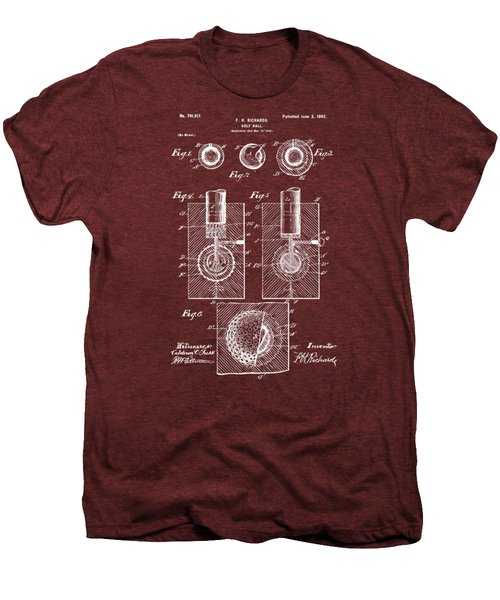 1902 Golf Ball Patent Artwork Red Men's Premium T-Shirt by Nikki Marie Smith