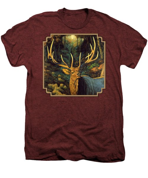 Elk Painting - Autumn Majesty Men's Premium T-Shirt by Crista Forest