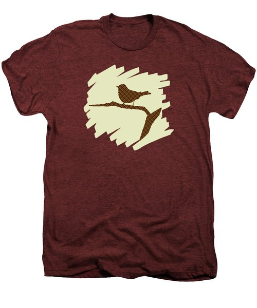 Brown Bird Silhouette Modern Bird Art Men's Premium T-Shirt by Christina Rollo