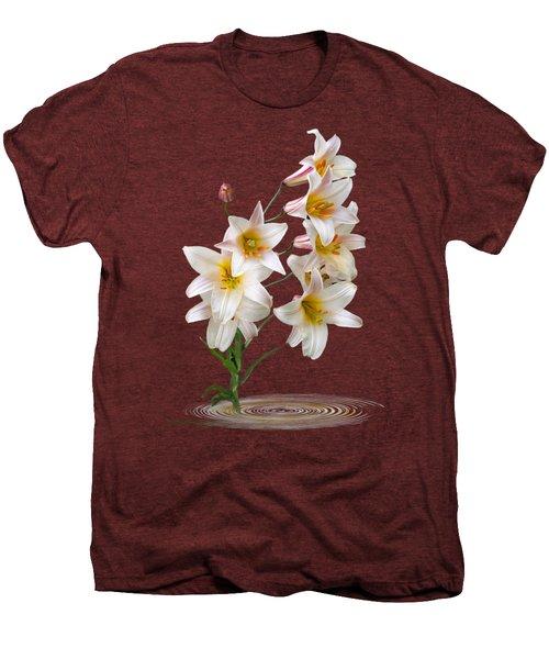 Cascade Of Lilies On Black Men's Premium T-Shirt by Gill Billington