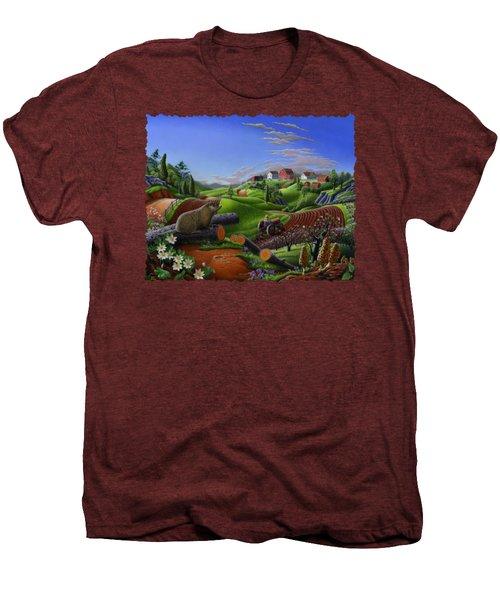 Farm Folk Art - Groundhog Spring Appalachia Landscape - Rural Country Americana - Woodchuck Men's Premium T-Shirt by Walt Curlee