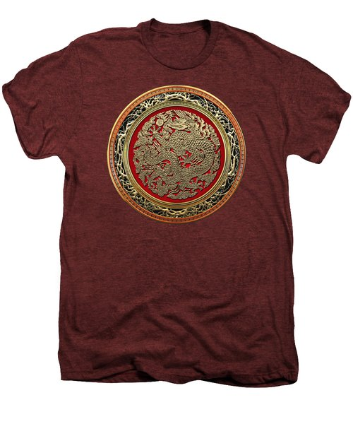 Golden Chinese Dragon On Red Velvet Men's Premium T-Shirt by Serge Averbukh