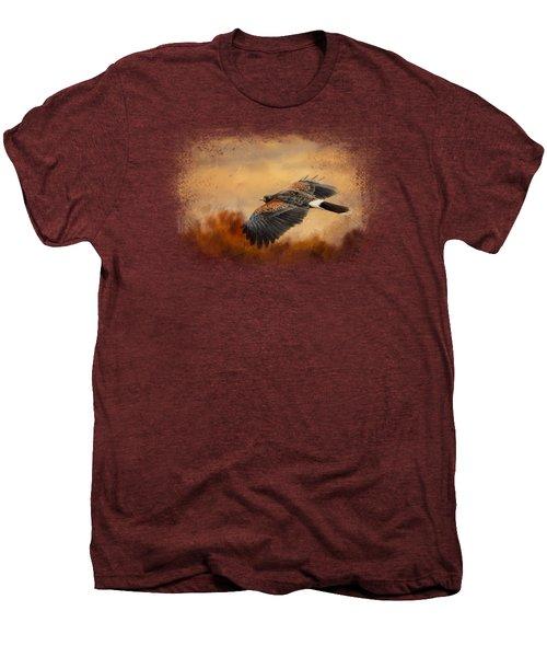 Harris Hawk In Autumn Men's Premium T-Shirt by Jai Johnson