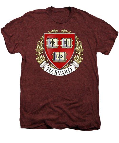 Harvard University Seal - Coat Of Arms Over Colours Men's Premium T-Shirt by Serge Averbukh