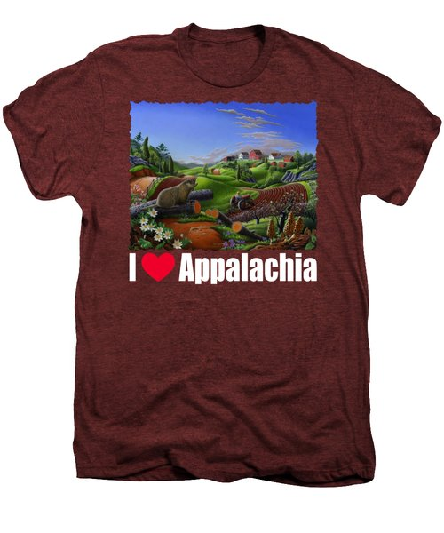 I Love Appalachia T Shirt - Spring Groundhog - Country Farm Landscape Men's Premium T-Shirt by Walt Curlee