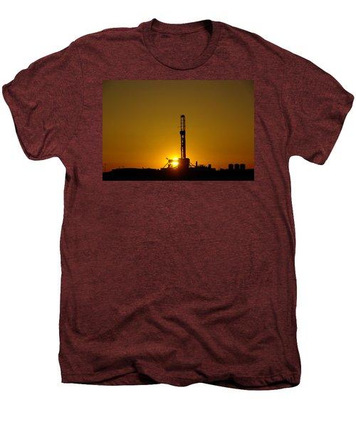 Oil Rig Near Killdeer In The Morn Men's Premium T-Shirt by Jeff Swan