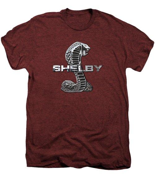 Shelby Cobra - 3d Badge On Red Men's Premium T-Shirt by Serge Averbukh