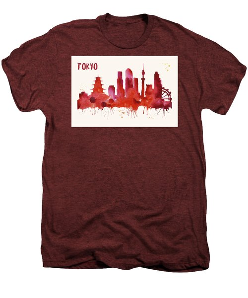 Tokyo Skyline Watercolor Poster - Cityscape Painting Artwork Men's Premium T-Shirt by Beautify My Walls