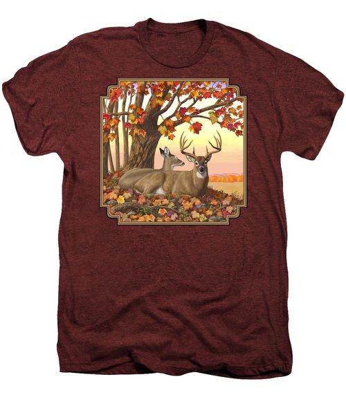 Whitetail Deer - Hilltop Retreat Men's Premium T-Shirt by Crista Forest