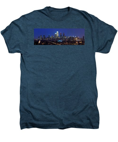 Buildings Lit Up At Night In A City Men's Premium T-Shirt by Panoramic Images
