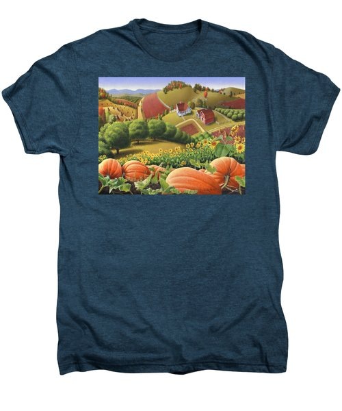 Farm Landscape - Autumn Rural Country Pumpkins Folk Art - Appalachian Americana - Fall Pumpkin Patch Men's Premium T-Shirt