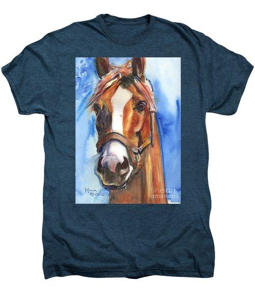 Horse Painting Of California Chrome Go Chrome Men's Premium T-Shirt by Maria's Watercolor