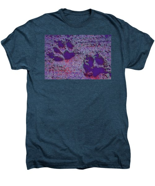 Paw Prints In Purple With Red Glow Men's Premium T-Shirt