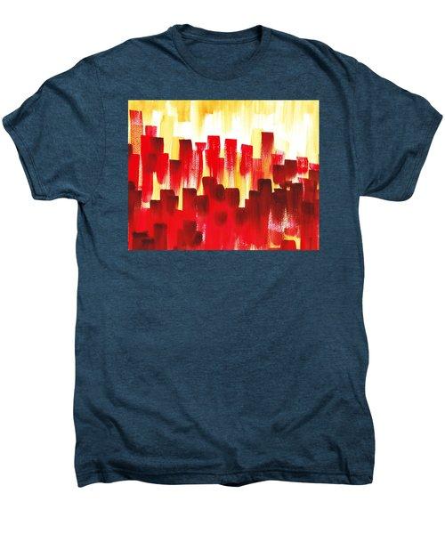 Men's Premium T-Shirt featuring the painting Urban Abstract Red City Lights by Irina Sztukowski