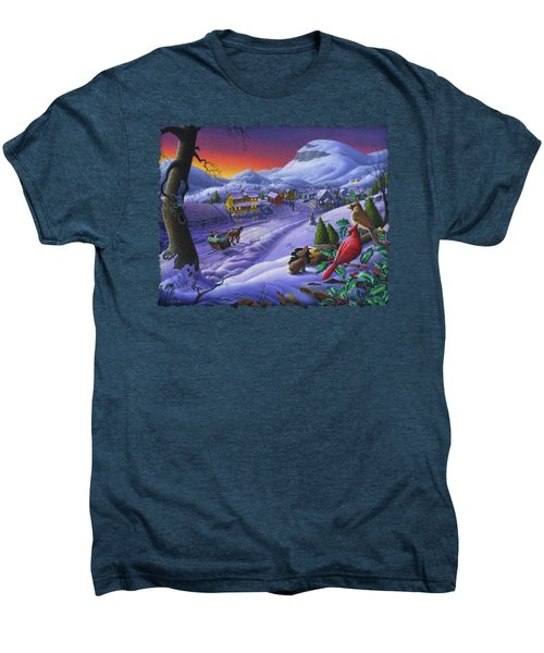 Christmas Sleigh Ride Winter Landscape Oil Painting - Cardinals Country Farm - Small Town Folk Art Men's Premium T-Shirt