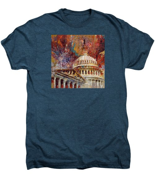 070 United States Capitol Building - Us Independence Day Celebration Fireworks Men's Premium T-Shirt by Maryam Mughal