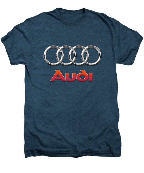 Audi - 3d Badge On Red Men's Premium T-Shirt