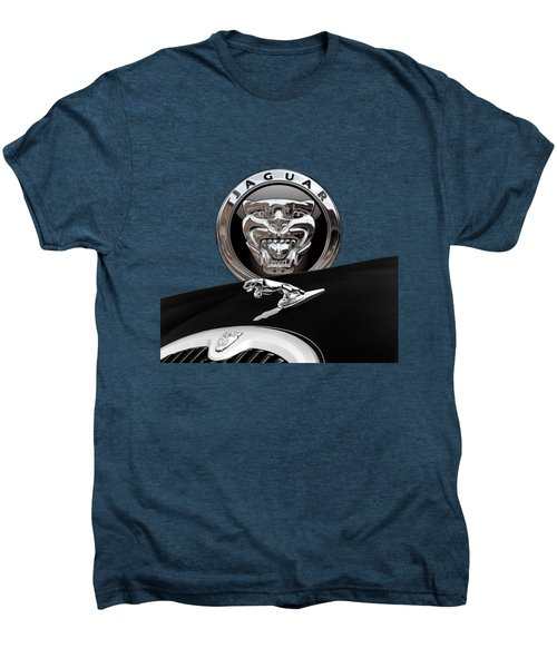 Black Jaguar - Hood Ornaments And 3 D Badge On Red Men's Premium T-Shirt by Serge Averbukh