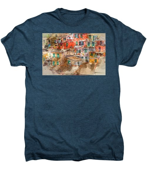 Colorful Homes In Cinque Terre Italy Men's Premium T-Shirt