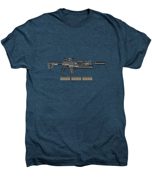 Colt  M 4 A 1  S O P M O D Carbine With 5.56 N A T O Rounds On Red Velvet  Men's Premium T-Shirt by Serge Averbukh