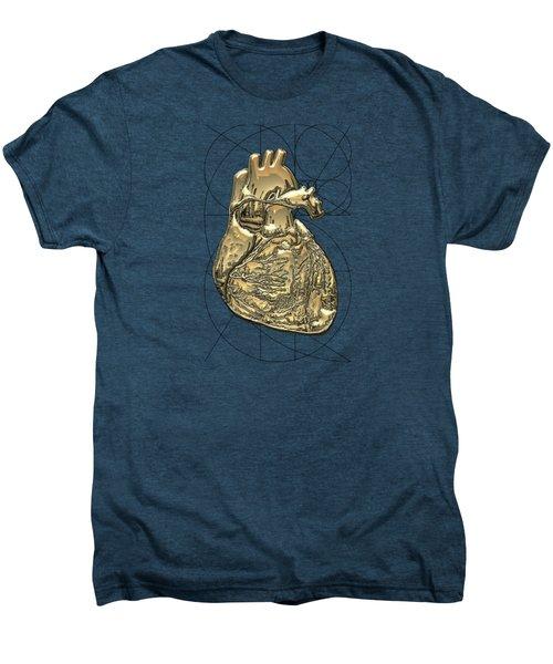 Heart Of Gold - Golden Human Heart On Red Canvas Men's Premium T-Shirt