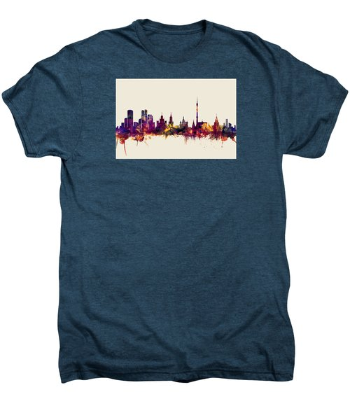 Moscow Russia Skyline Men's Premium T-Shirt by Michael Tompsett