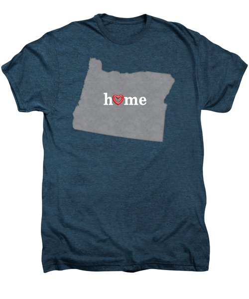 State Map Outline Oregon With Heart In Home Men's Premium T-Shirt by Elaine Plesser