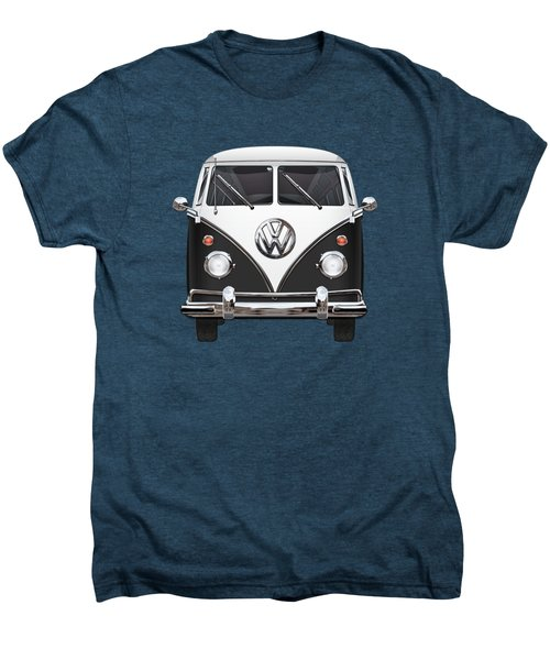 Volkswagen Type 2 - Black And White Volkswagen T 1 Samba Bus On Red  Men's Premium T-Shirt by Serge Averbukh