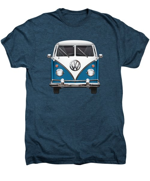 Volkswagen Type 2 - Blue And White Volkswagen T 1 Samba Bus Over Orange Canvas  Men's Premium T-Shirt by Serge Averbukh