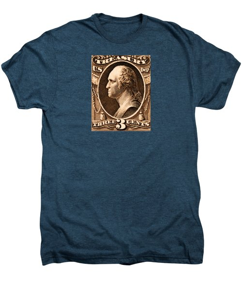 1875 George Washington Treasury Department Stamp Men's Premium T-Shirt by Historic Image