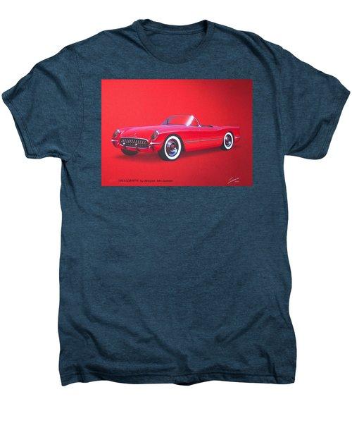 1953 Corvette Classic Vintage Sports Car Automotive Art Men's Premium T-Shirt by John Samsen