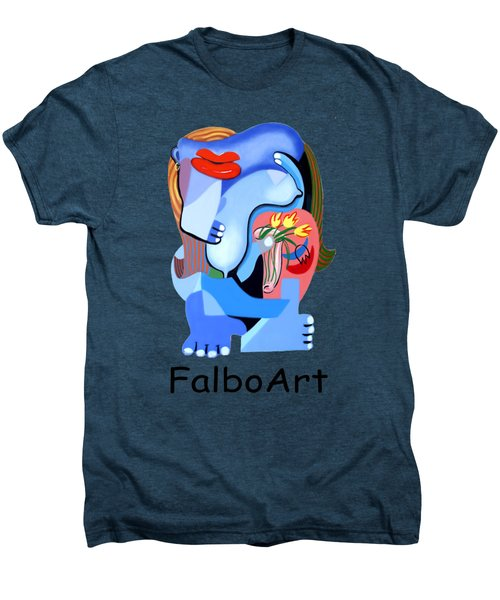 Blue Nude With Tulips Men's Premium T-Shirt by Anthony Falbo